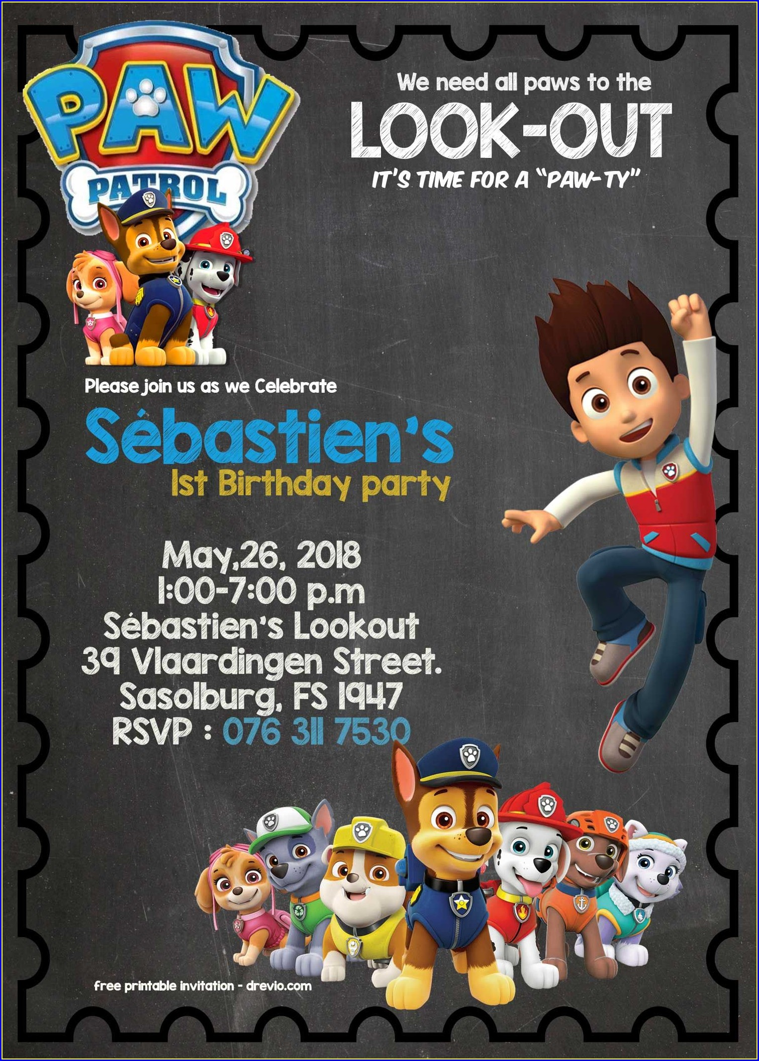 Downloadable Paw Patrol Printable Invitations