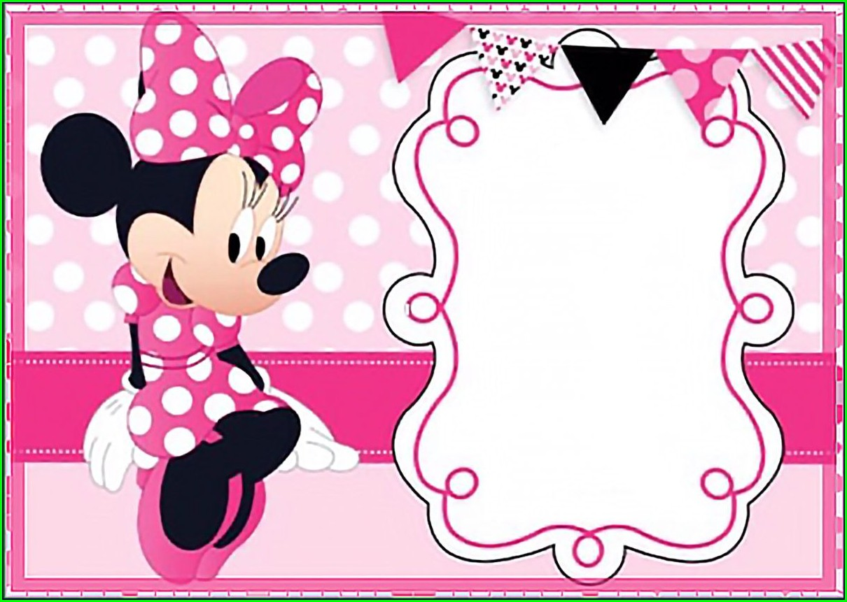Downloadable Pink And Gold Minnie Mouse Invitation Template