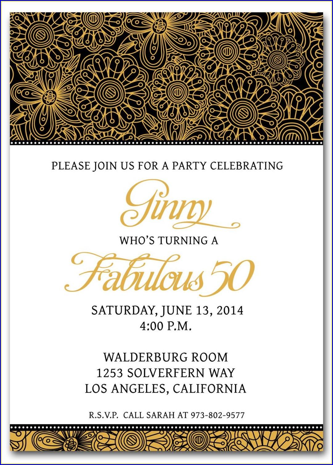 Downloadable Printable 50th Birthday Invitations