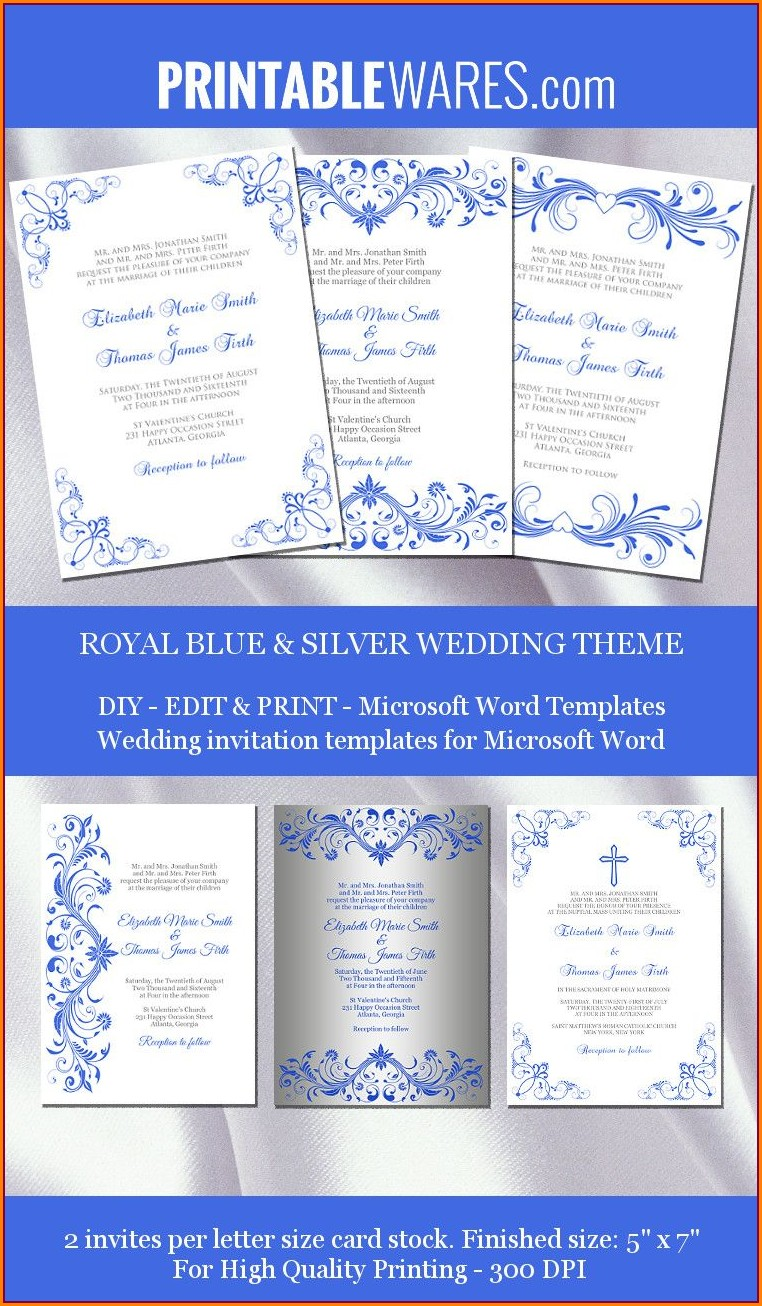 Downloadable Royal Blue Wedding Invitation Templates Free