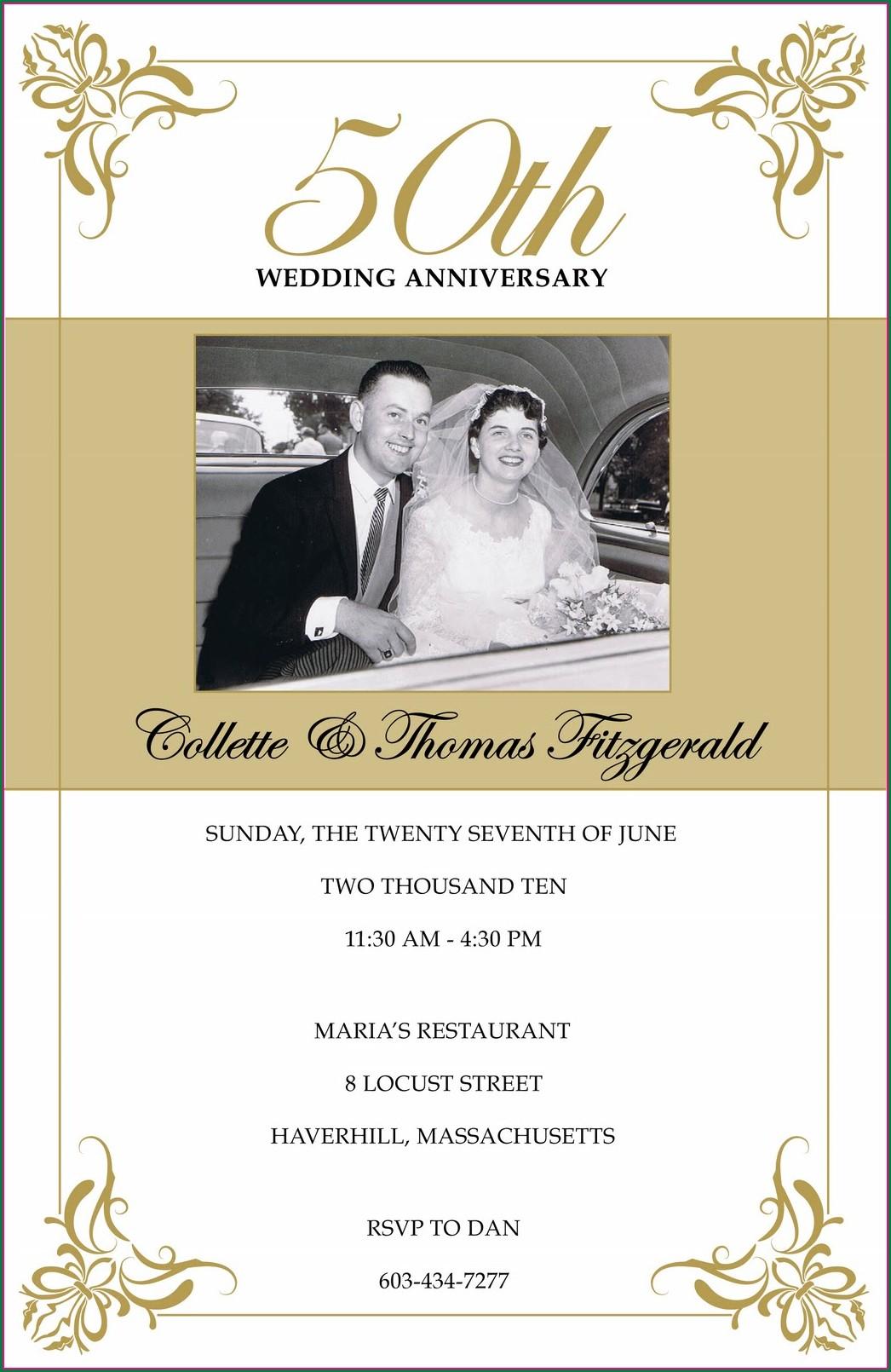 Downloadable Wedding Anniversary Invitation Templates Microsoft Word