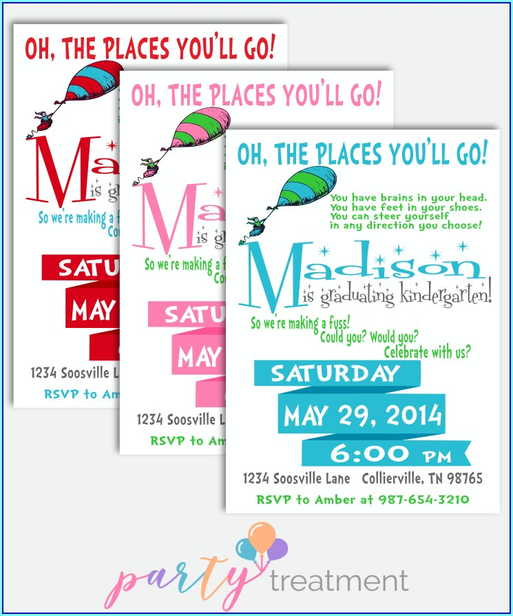 Dr Seuss Graduation Invitations