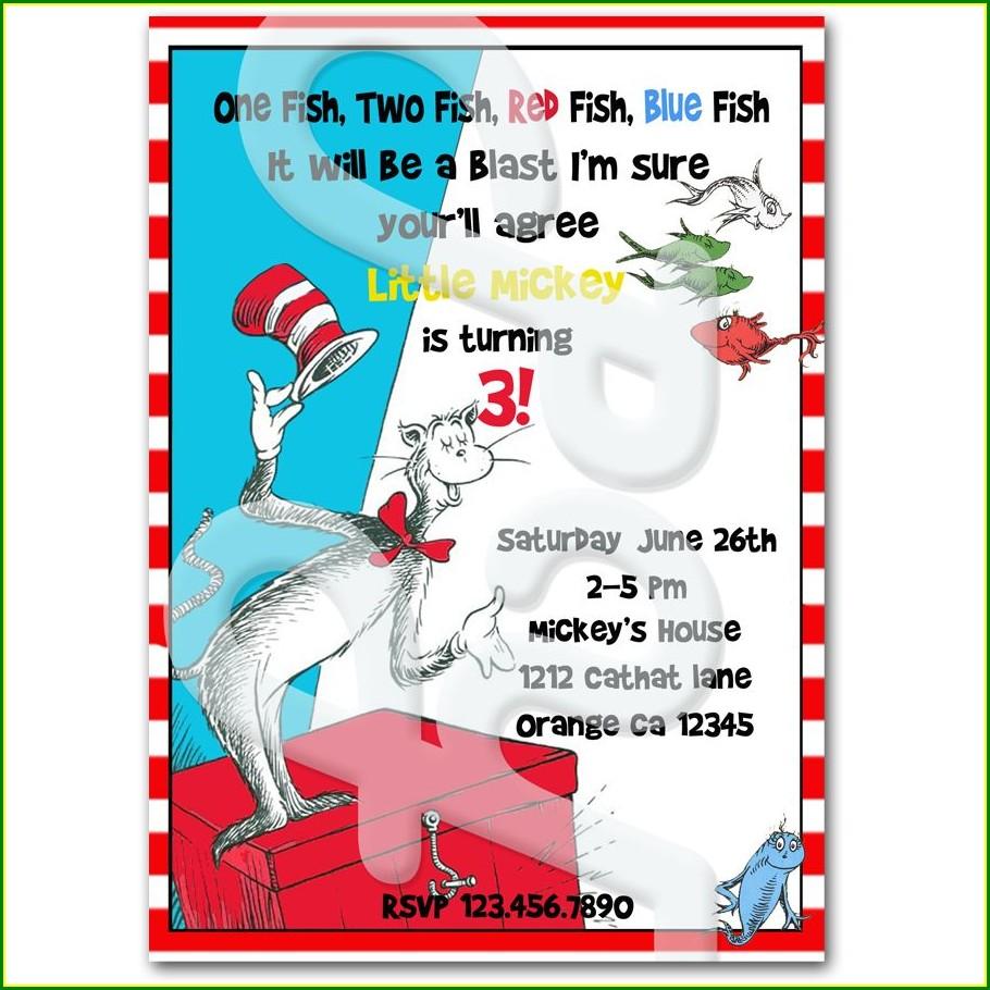 Dr Seuss Personalized Birthday Invitations