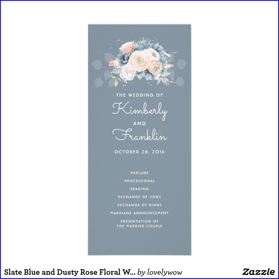 Dusty Blue And Dusty Rose Wedding Invitations