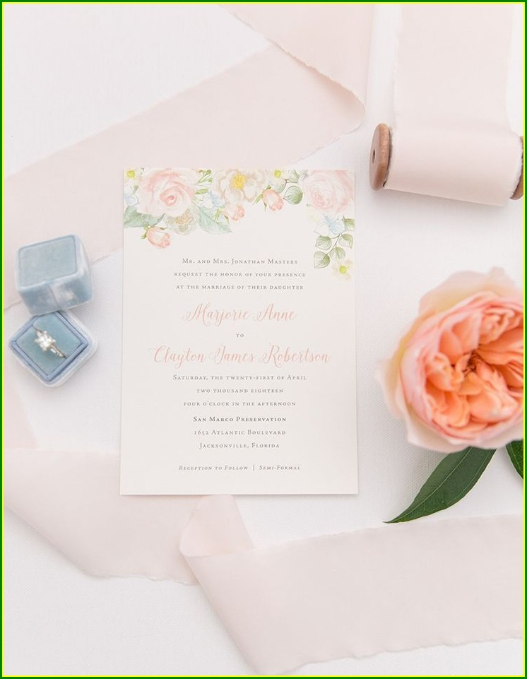 Dusty Blue And Peach Wedding Invitations