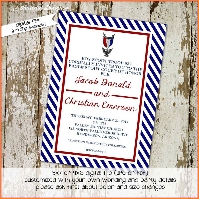 Eagle Court Of Honor Invitations