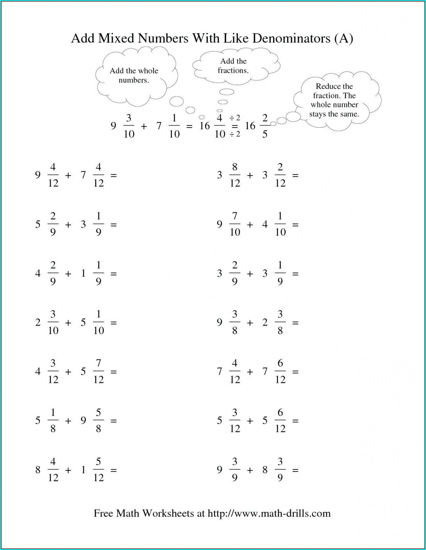 Easy Adding Mixed Numbers Worksheet