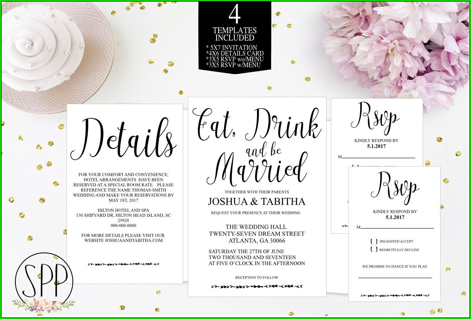 Eat Drink And Be Married Invitation Template