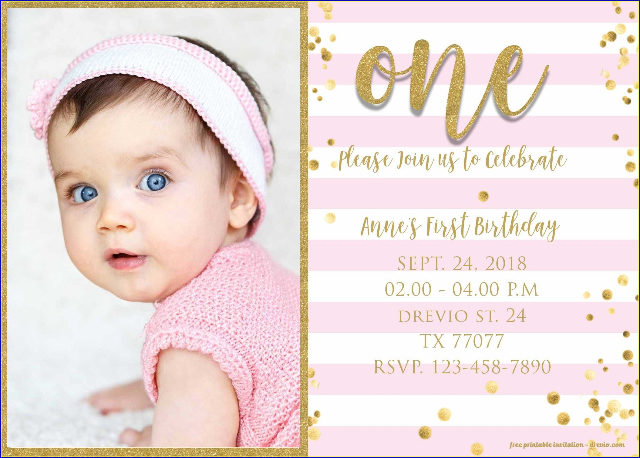 Editable 1st Birthday Invitation Card Free Download Indian