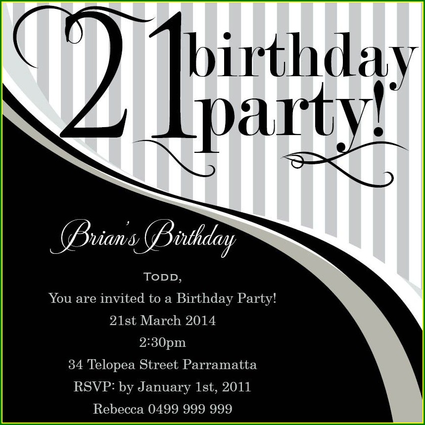Editable 21st Birthday Invitations Templates Free