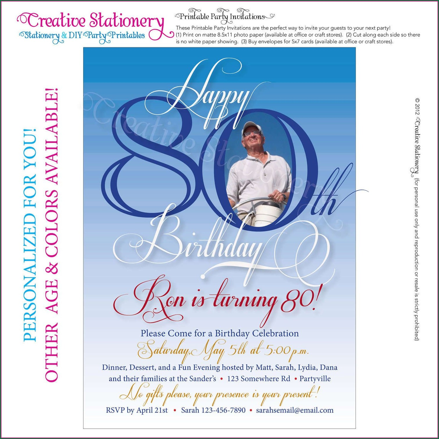 Editable 80th Birthday Invitations Templates Free