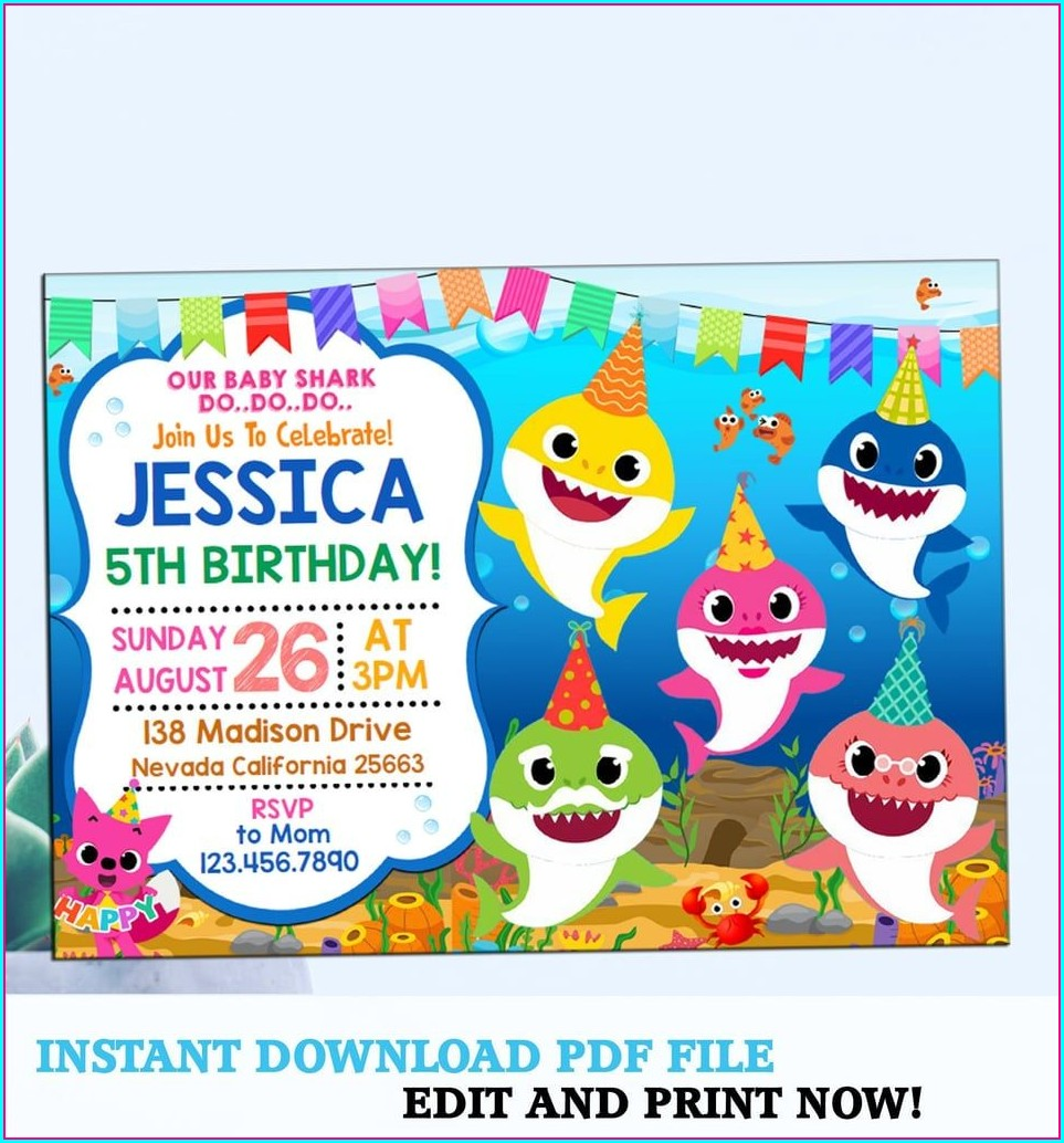 Editable Baby Shark Birthday Invitation Free Template