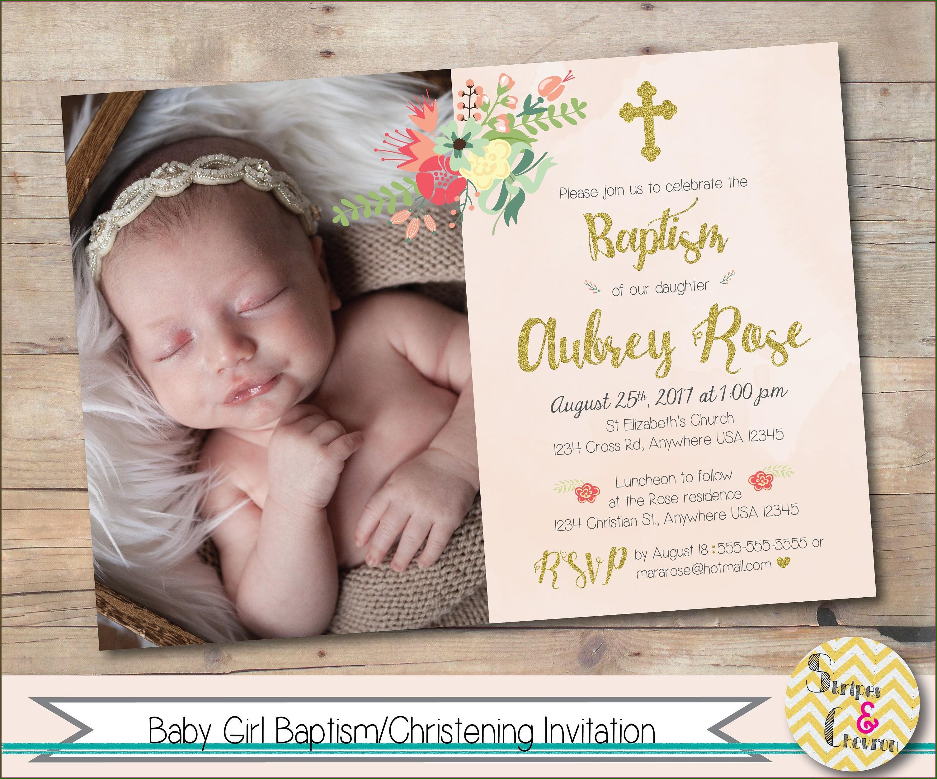 Editable Baptism Invitation For Baby Girl