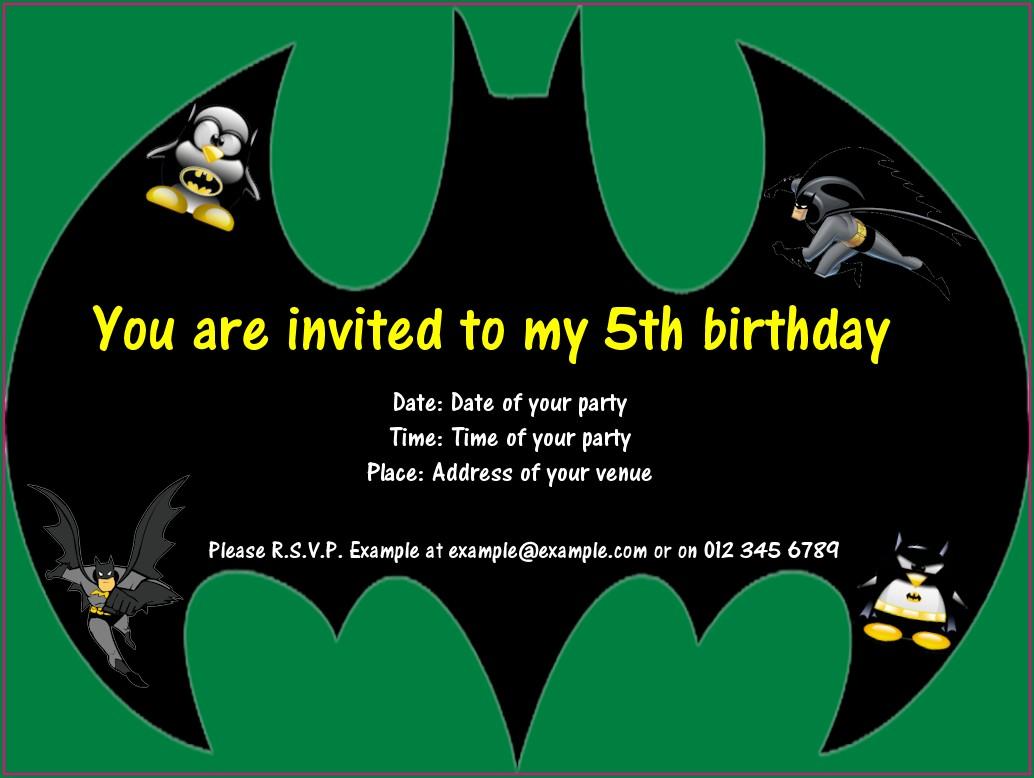 Editable Batman Birthday Invitation Template