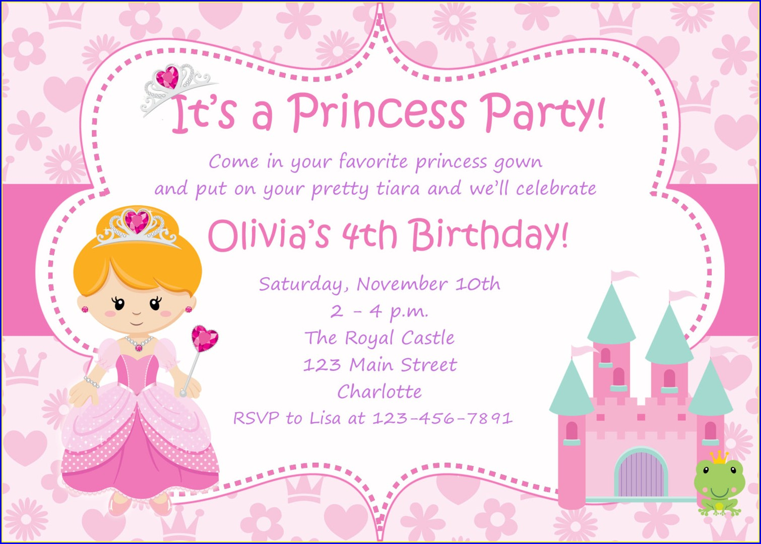 Editable Blank Princess Invitation Template
