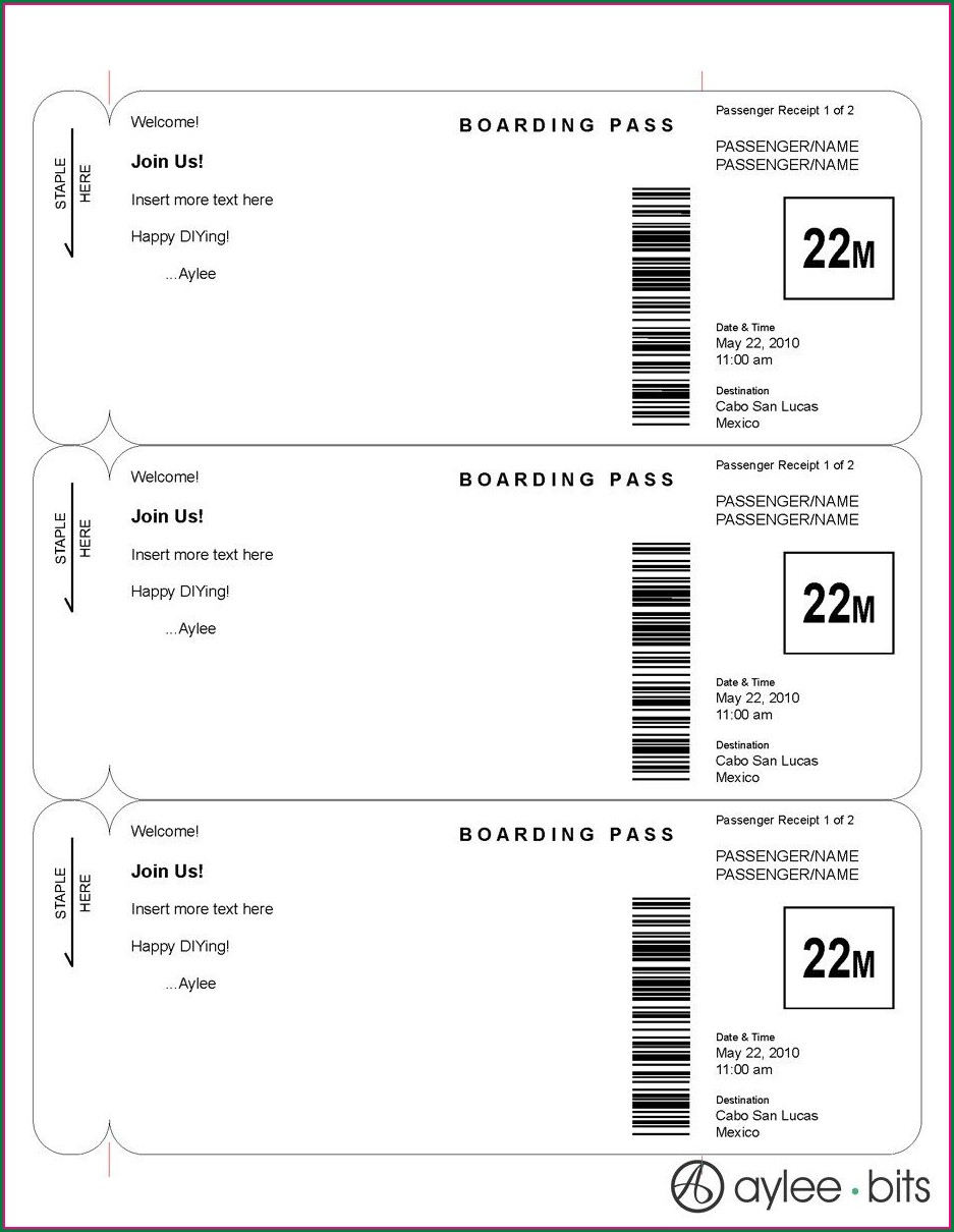 Editable Boarding Pass Invitation Template Free