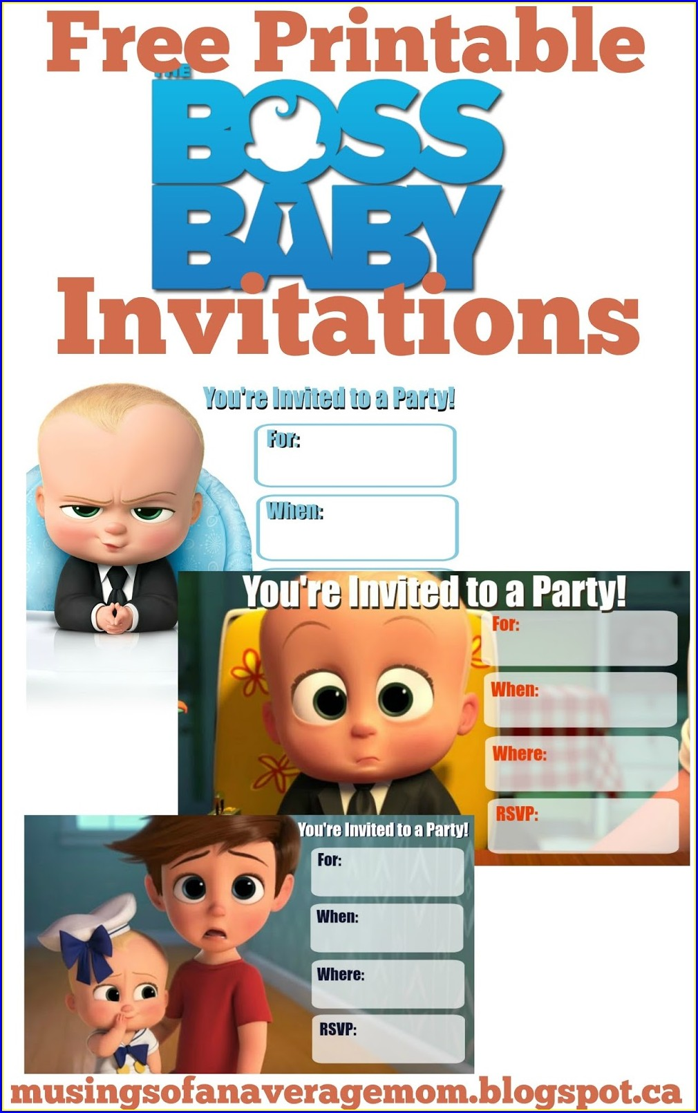 Editable Boss Baby Invitation Card Template Free