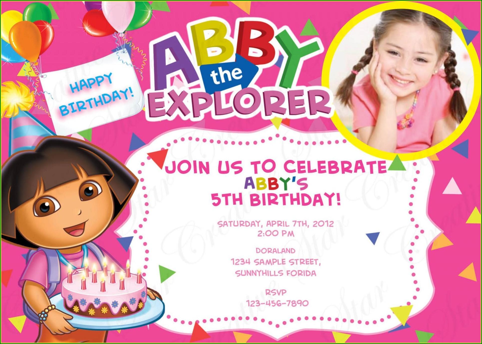 Editable Dora The Explorer Birthday Invitations Templates Free