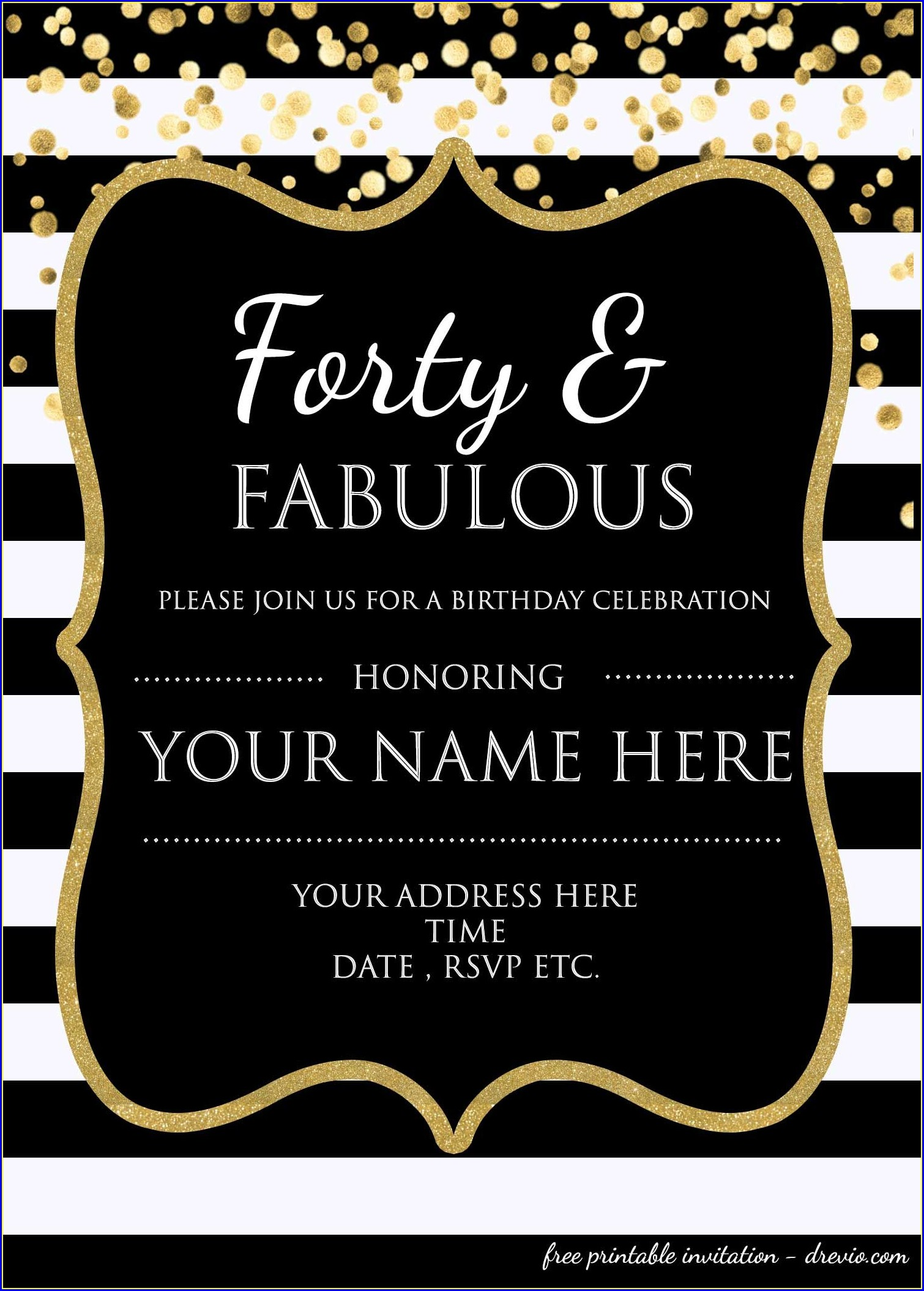 Editable Downloadable Free 40th Birthday Invitations Templates