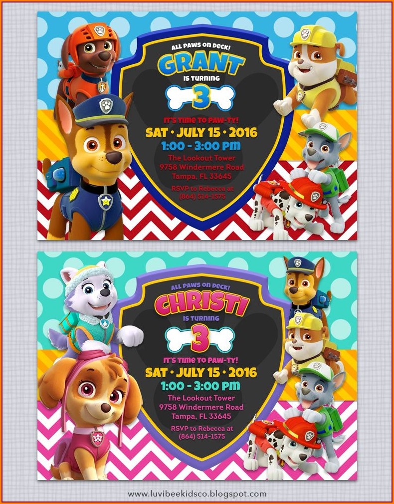 Editable Downloadable Paw Patrol Invitation Template