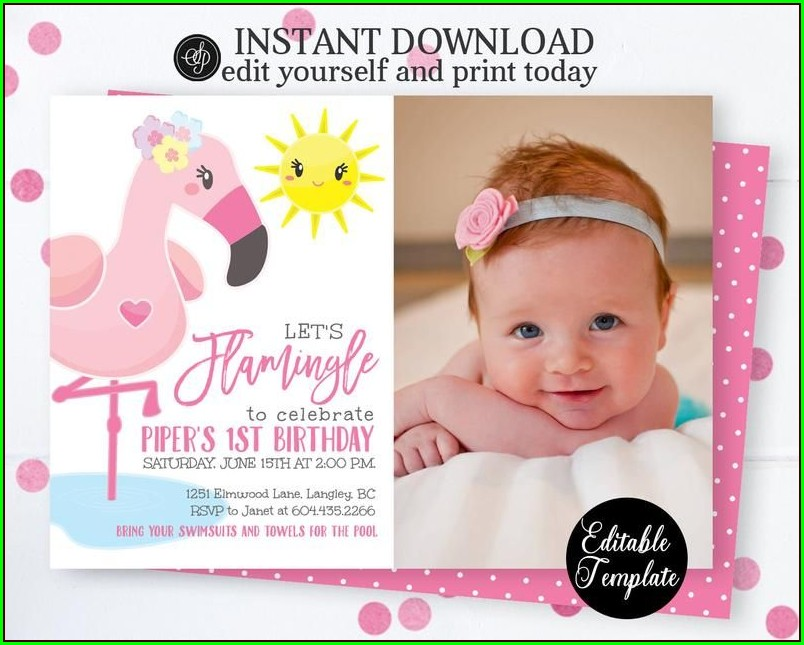 Editable Flamingo Invitation Template