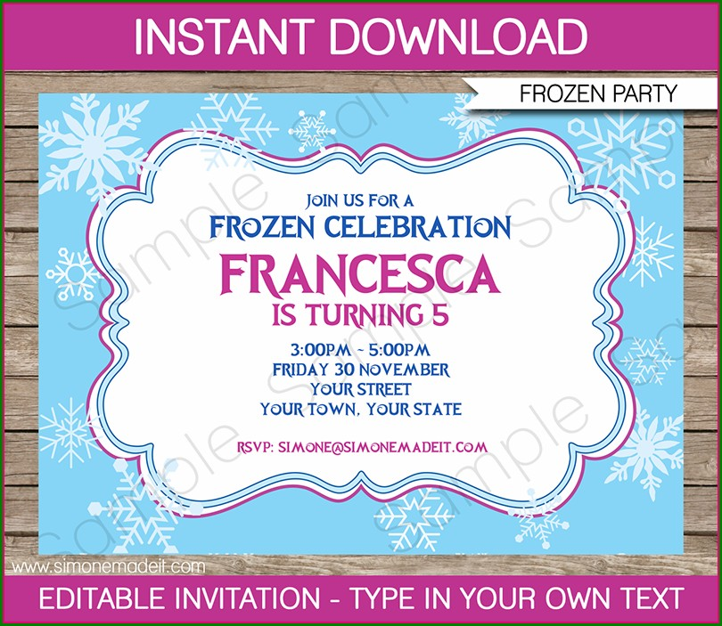 Editable Frozen Birthday Invitation Template