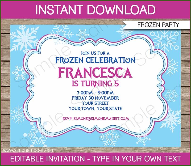Editable Frozen Birthday Invitation Template