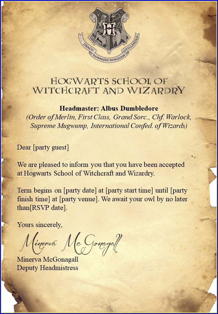 Editable Harry Potter Birthday Invitation Template