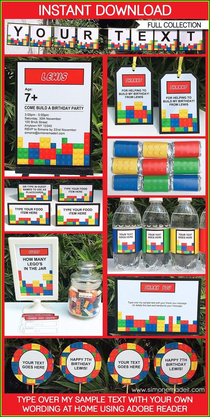 Editable Lego Birthday Invitations