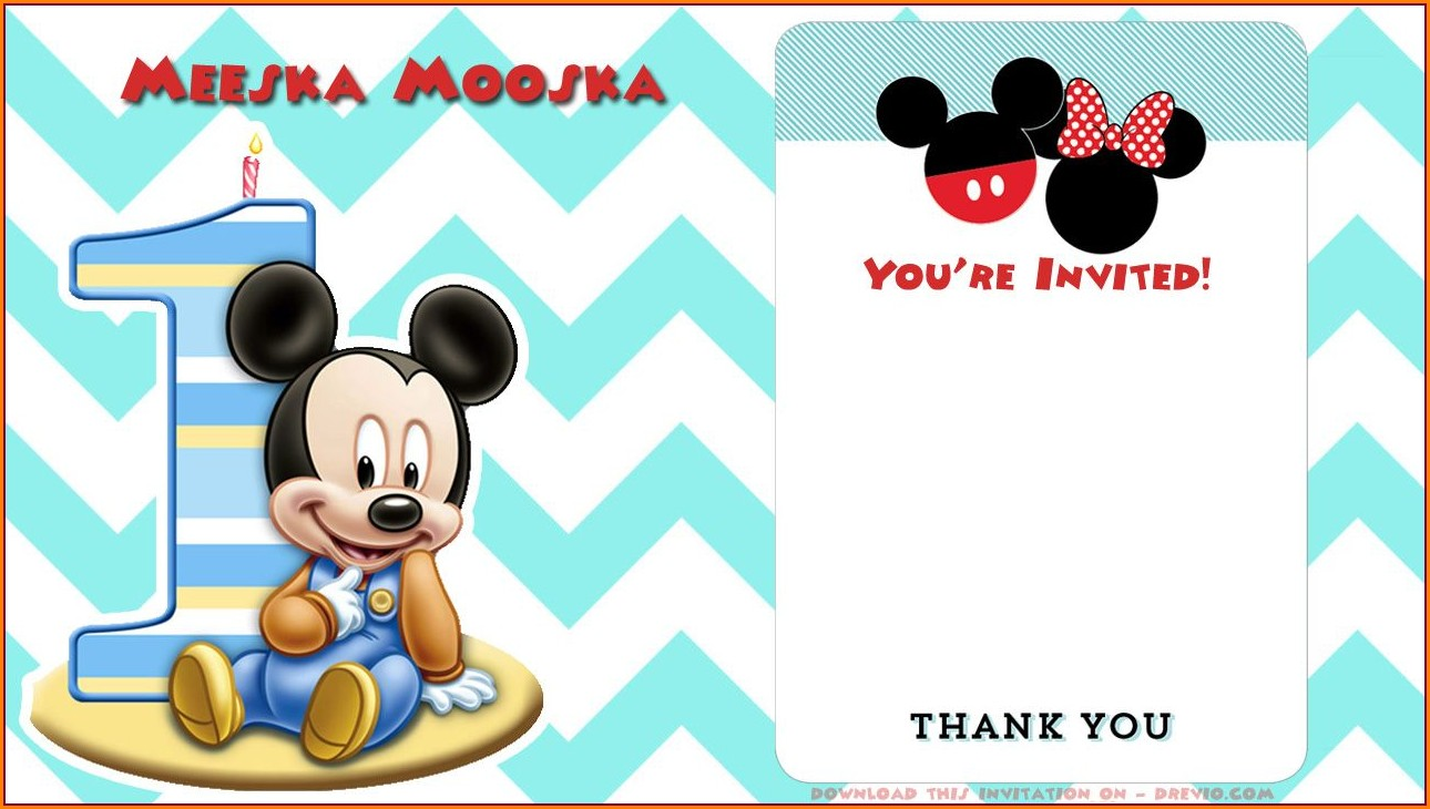 Editable Mickey Mouse Invitation Template Free Download