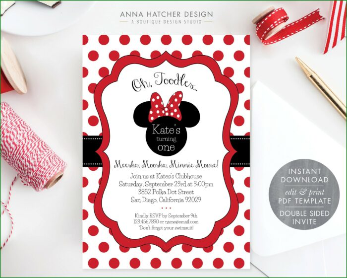Editable Minnie Mouse Invitation Template Red