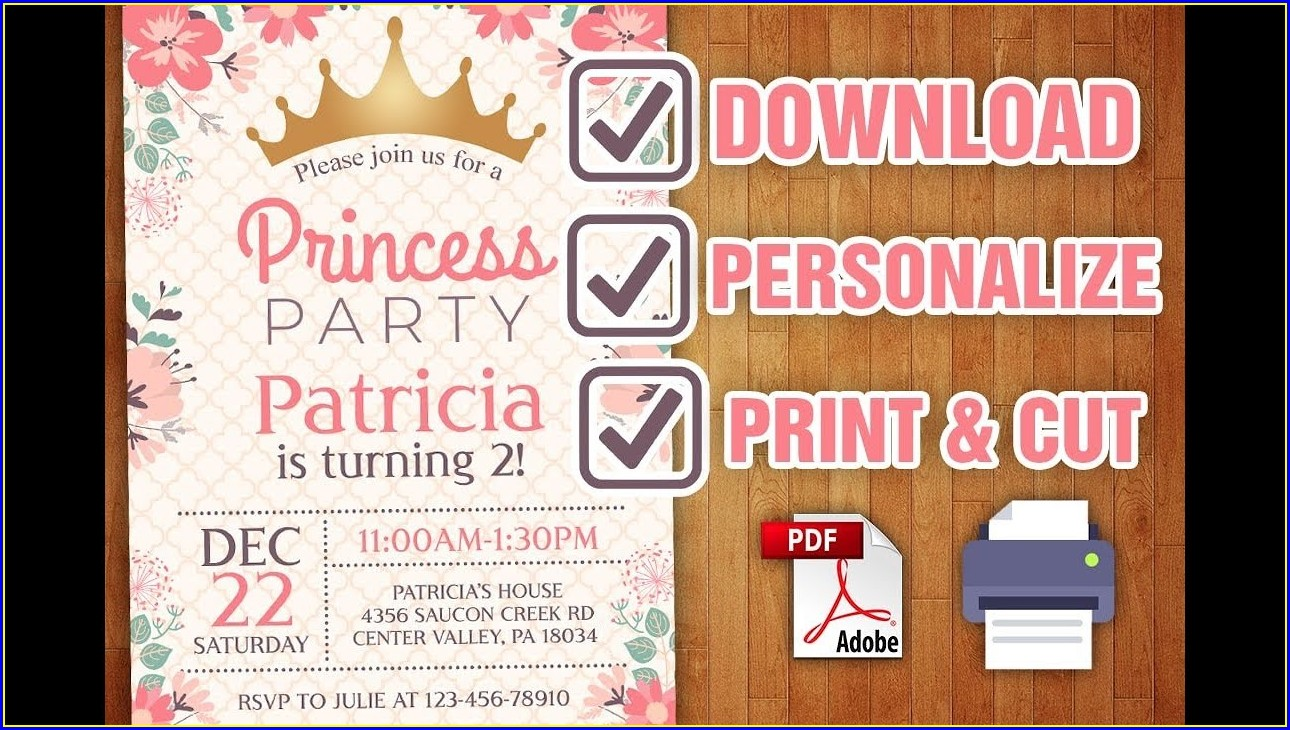 Editable Princess Invitation Template Free