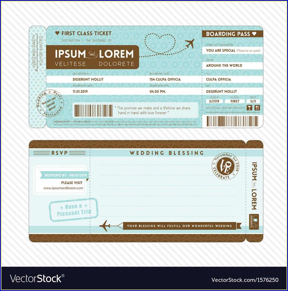 Editable Printable Boarding Pass Invitation Template