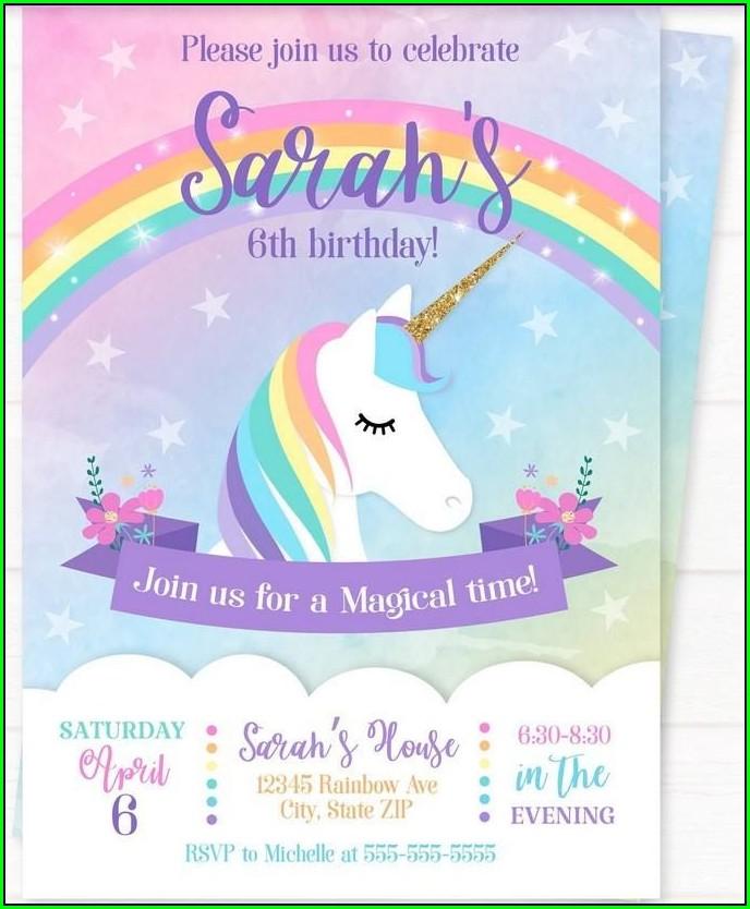 Editable Rainbow Birthday Invitations Templates Free