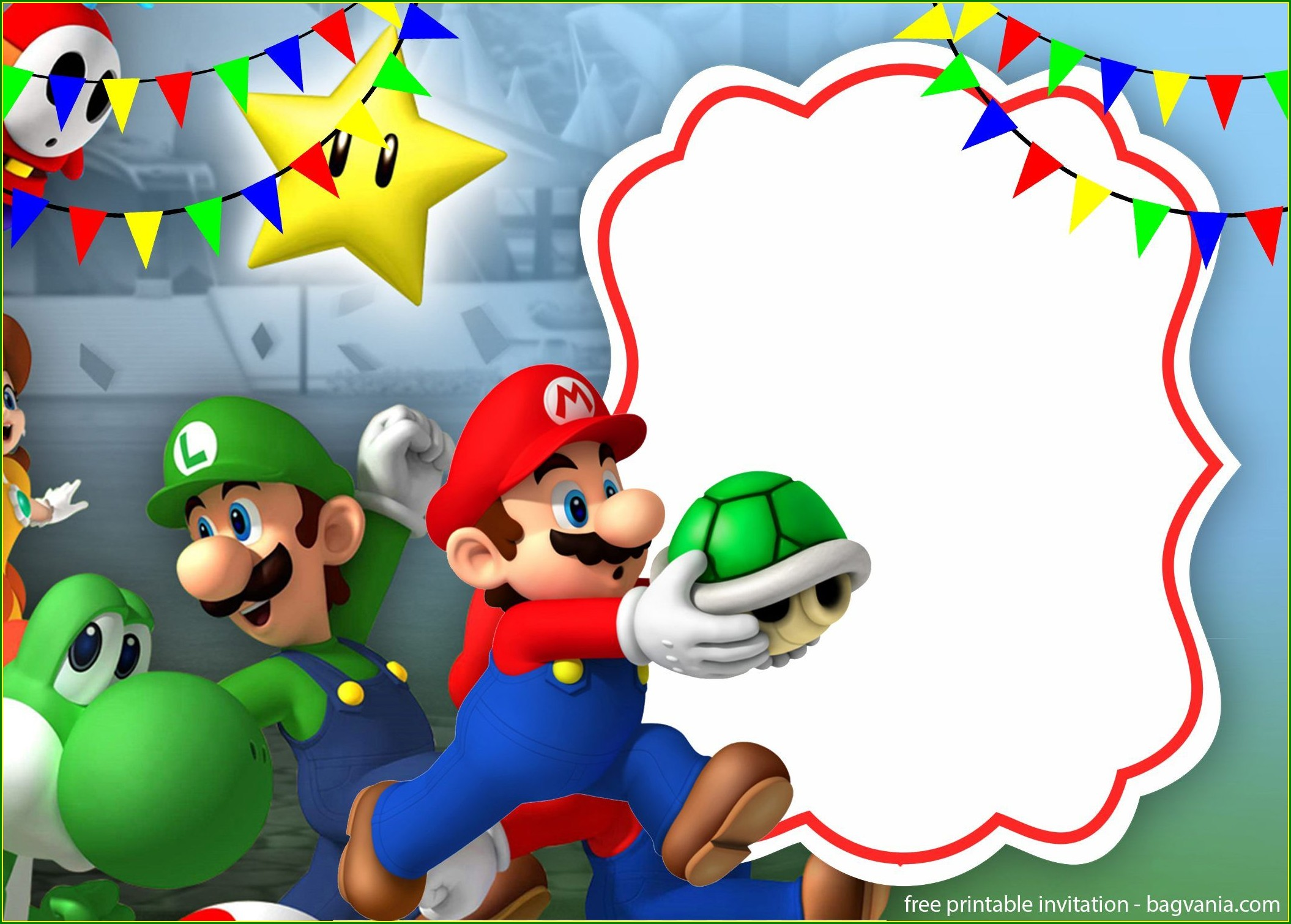 Editable Super Mario Invitations Template Free