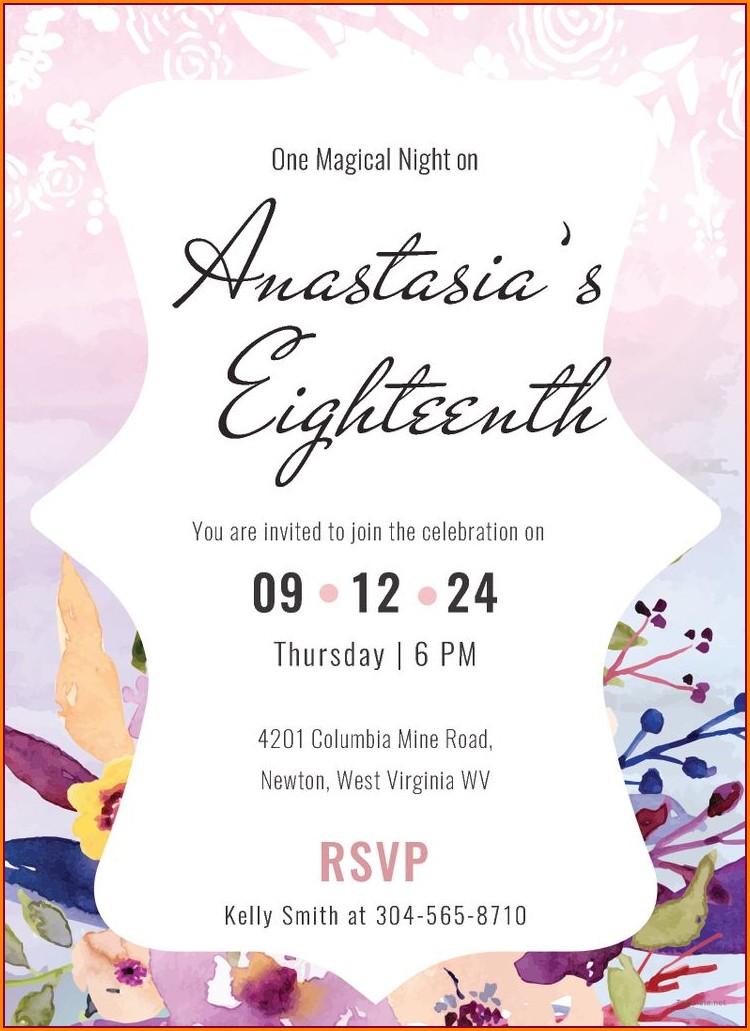 Elegant 18th Birthday Invitation Card Background Design