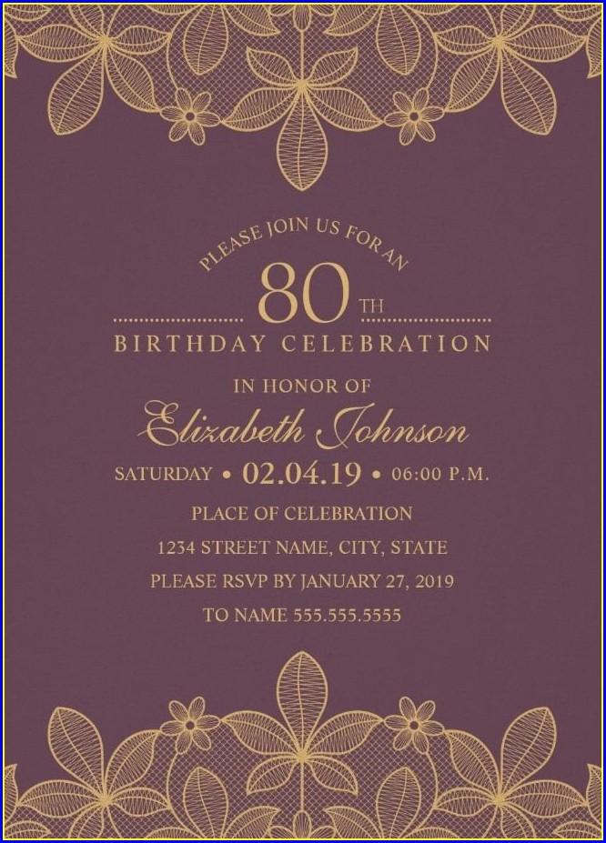 Elegant 80th Birthday Invitations