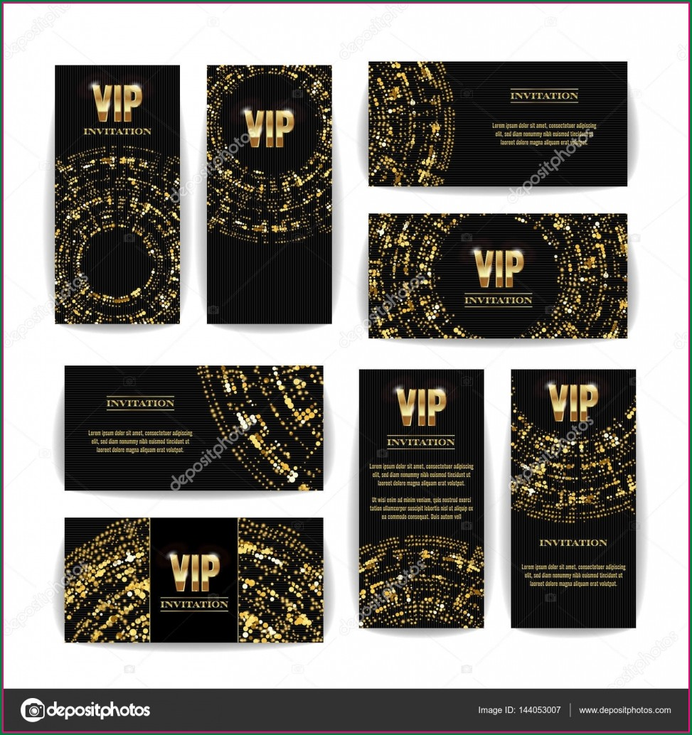 Elegant Black And Gold Invitation Template Blank