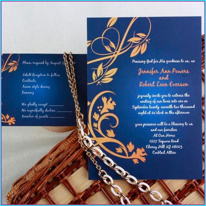Elegant Blue And Gold Wedding Invitations