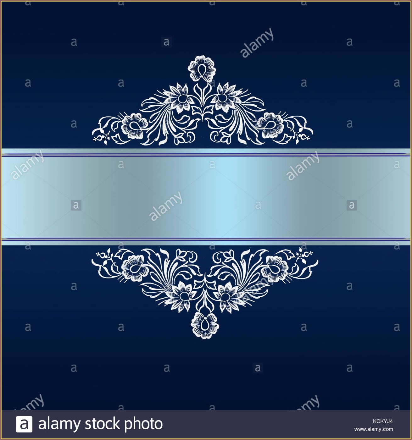 Elegant Border Royal Blue Wedding Invitation Background