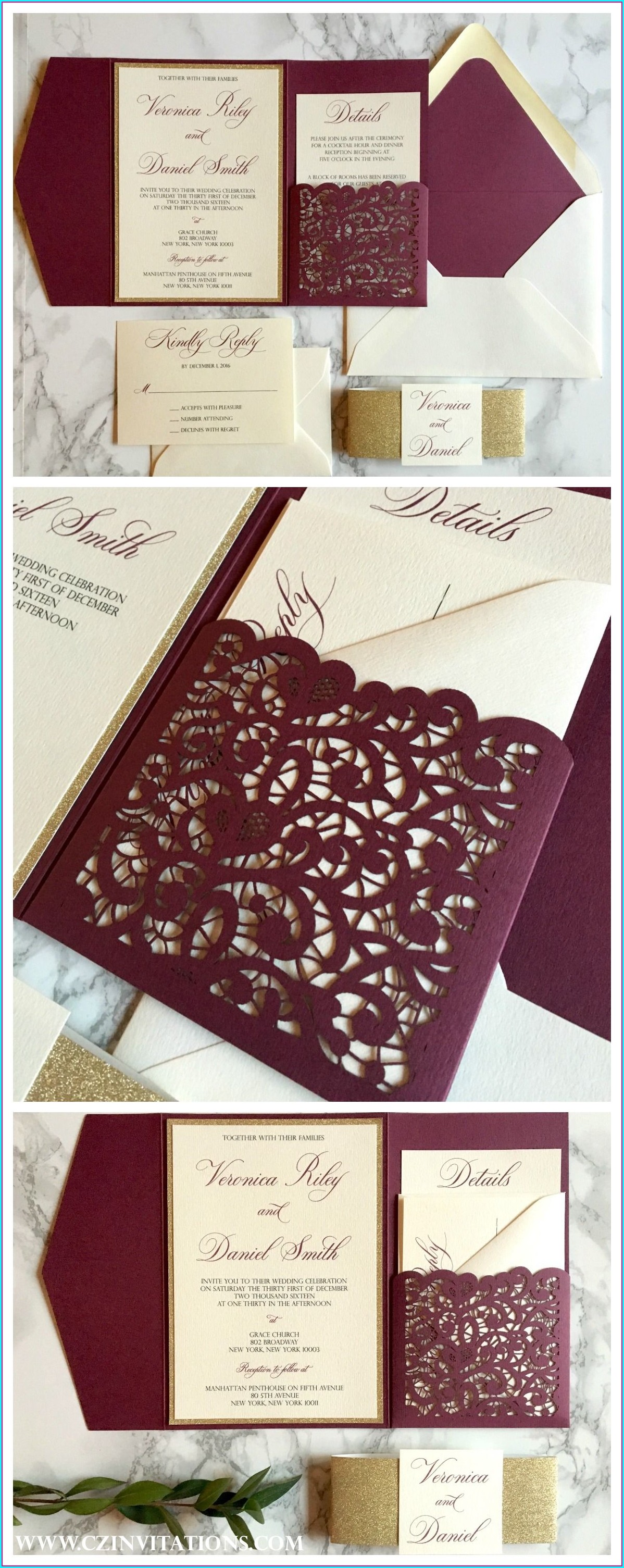 Elegant Burgundy And Gold Wedding Invitations