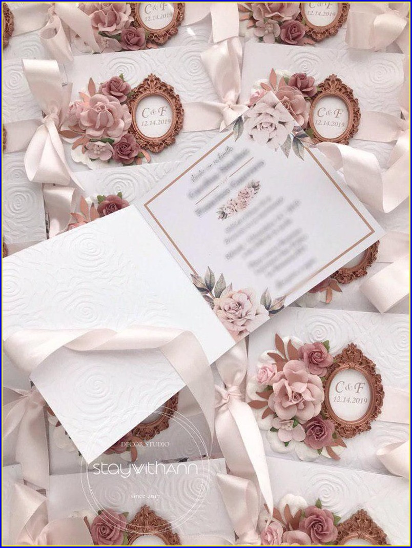 Elegant Dusty Rose Wedding Invitations