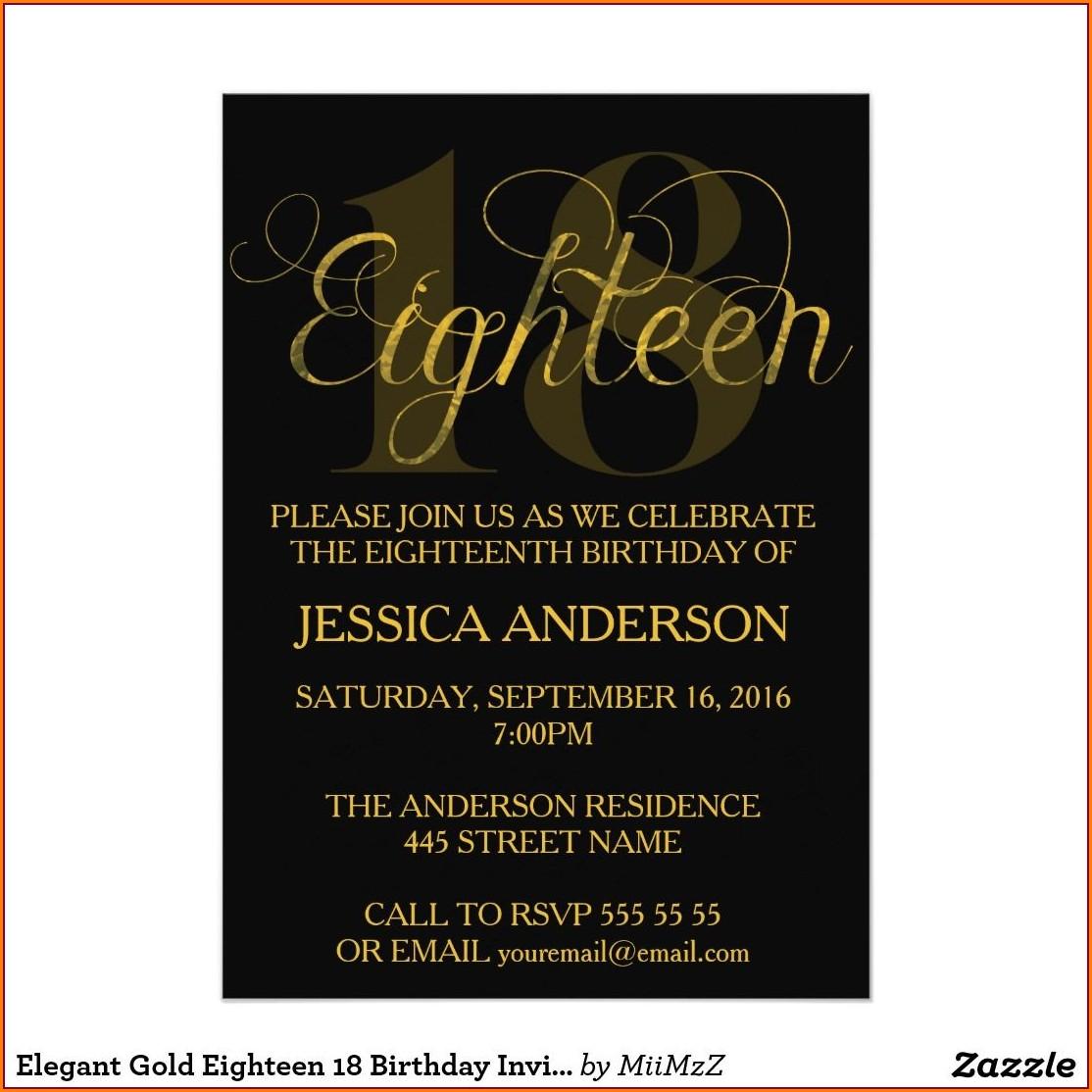 Elegant Editable 18th Birthday Invitation Template
