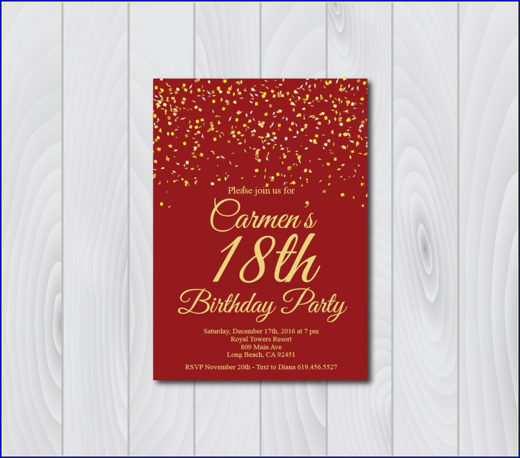 Elegant Empty 18th Birthday Invitation Card Background Design