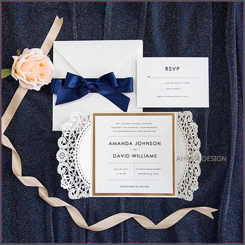 Elegant Navy Blue And Gold Wedding Invitations