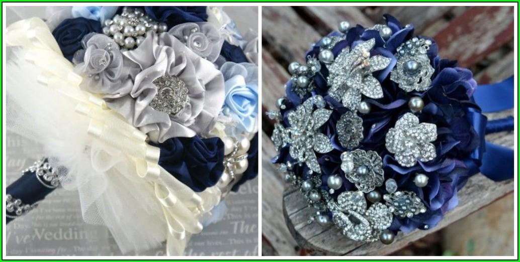 Elegant Navy Blue And Silver Wedding Invitations