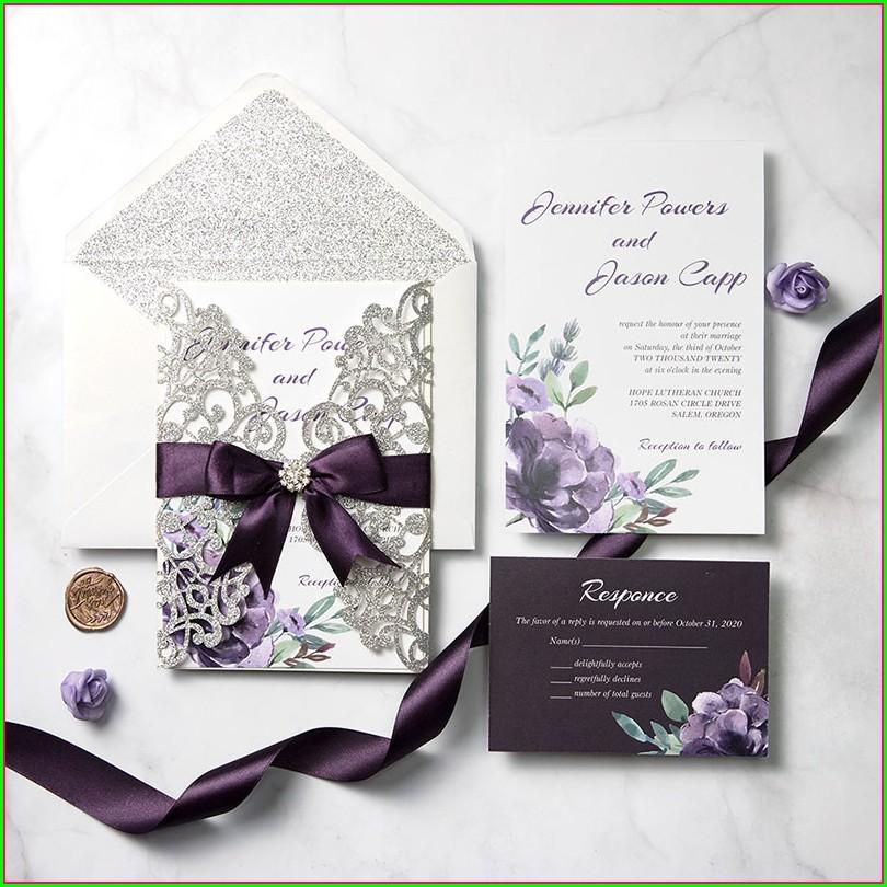 Elegant Plum And Grey Wedding Invitations