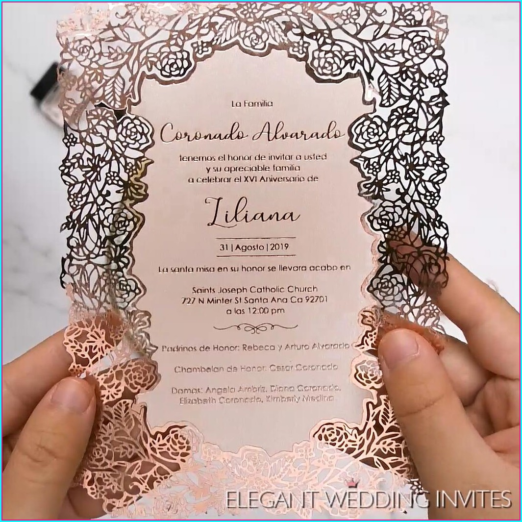 Elegant Rose Gold Wedding Invitations