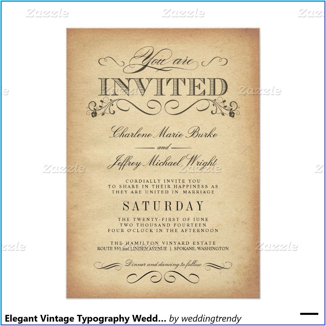 Elegant Vintage Style Wedding Invitations