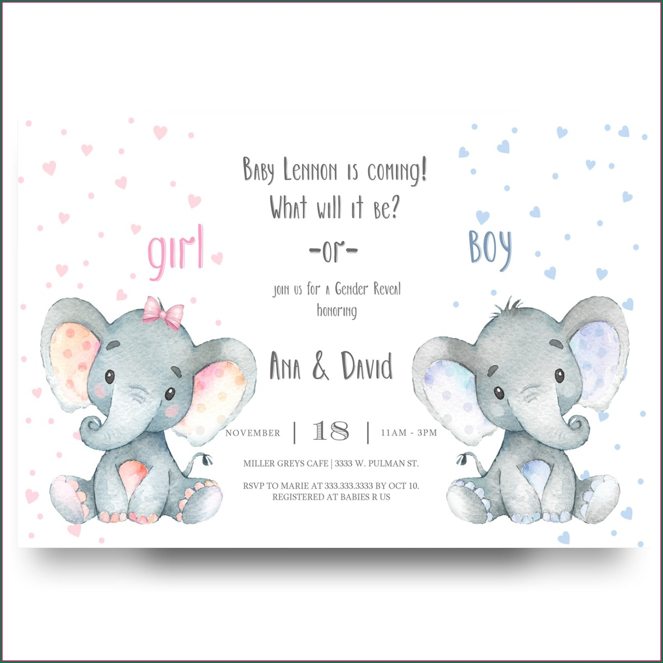 Elephant Gender Reveal Invitations Blank